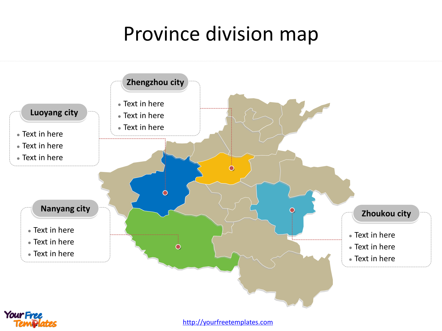 Province of Henan map with most populated divisions labeled on the Henan maps PowerPoint templates
