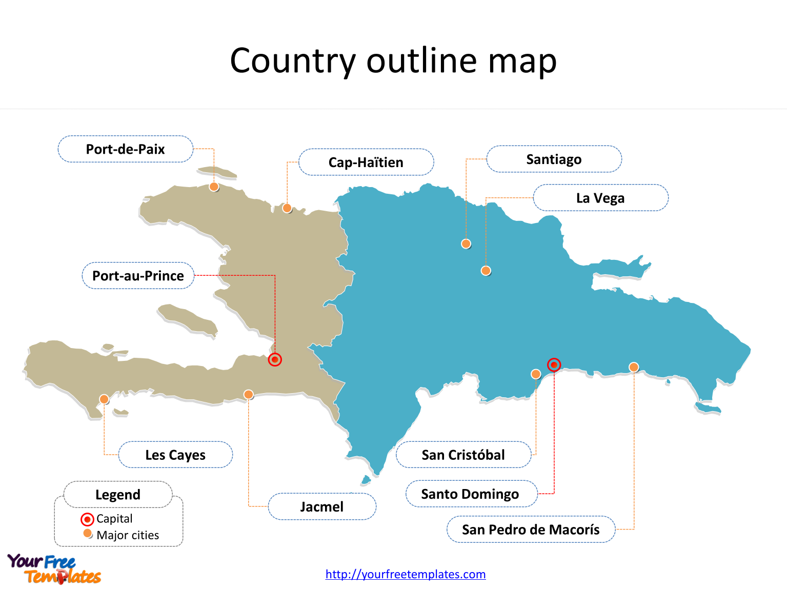 Map of Hispaniola with country political division on the Hispaniola map free templates
