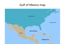 Gulf of Mexico Map with countries labeled on the Mexico Gulf map free templates