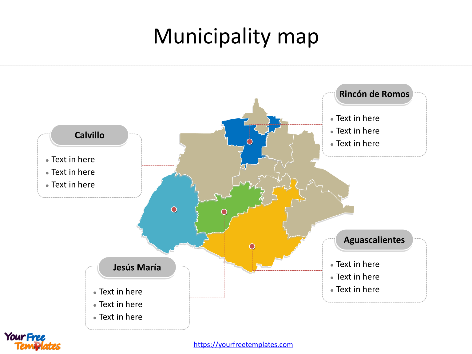 State of Mexico Aguascalientes map with most populated municipalities labeled on the Aguascalientes maps PowerPoint templates