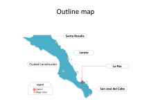 State of Mexico Baja California Sur map with outline and cities labeled on the Baja California Sur maps PowerPoint templates