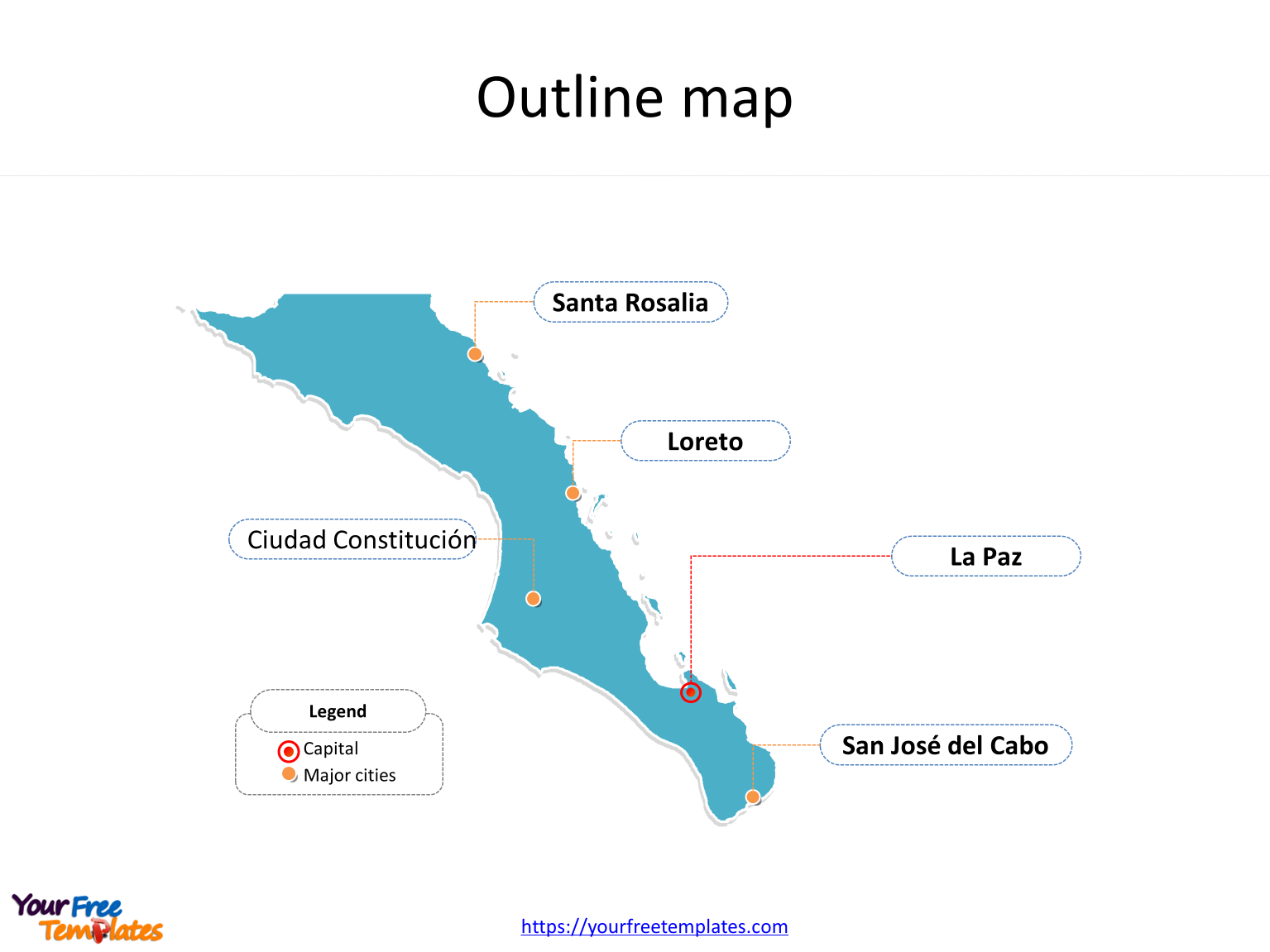 Baja California Sur Map Template Free Powerpoint Templates