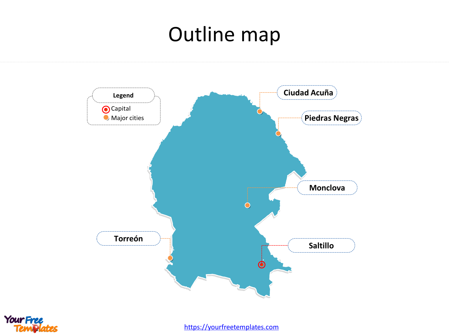Coahuila Map Template Free Powerpoint Templates