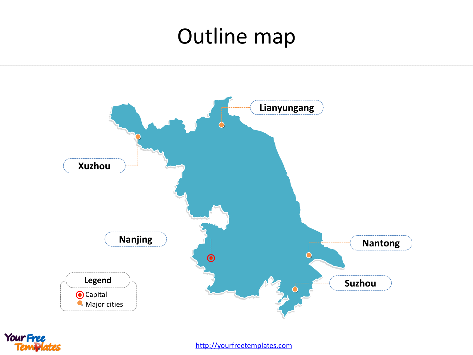 Province of Jiangsu map with outline and cities labeled on the Jiangsu maps PowerPoint templates