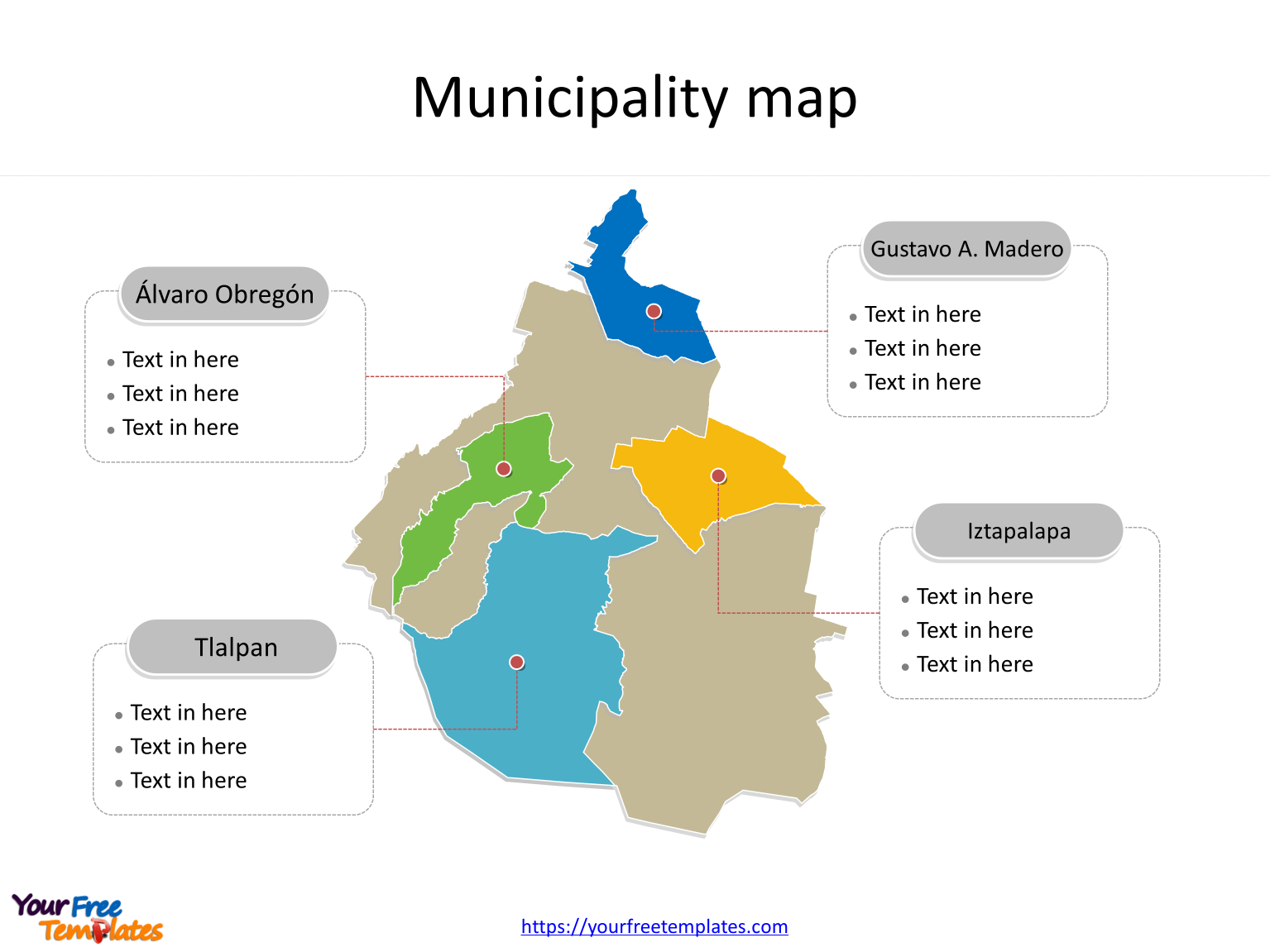 State of Mexico City map with most populated boroughs labeled on the Mexico City maps PowerPoint templates
