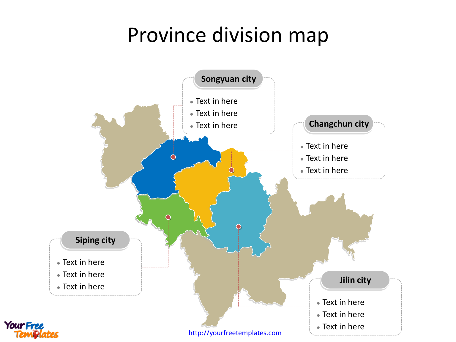 Province of Jilin map with most populated divisions labeled on the Jilin maps PowerPoint templates