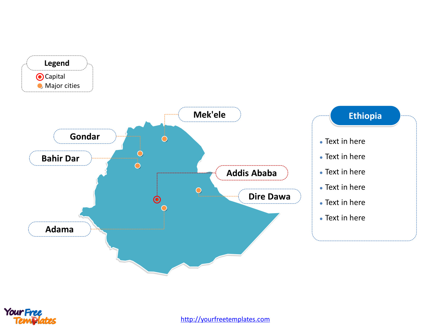 Ethiopia Outline map labeled with cities