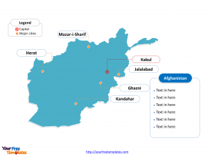 Afghanistan Outline map labeled with cities
