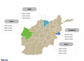 Afghanistan Political map labeled with major provinces