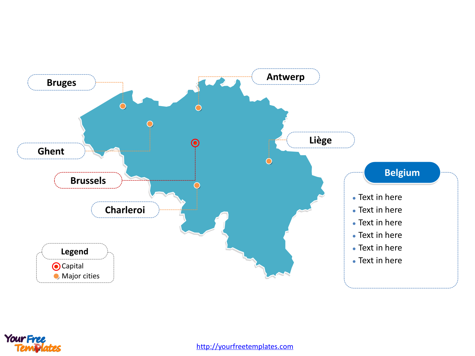 Free Belgium PowerPoint Map Free PowerPoint Templates – Map of Belgium with Cities