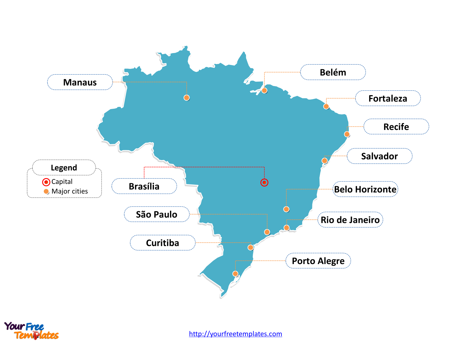 Brazil outline map