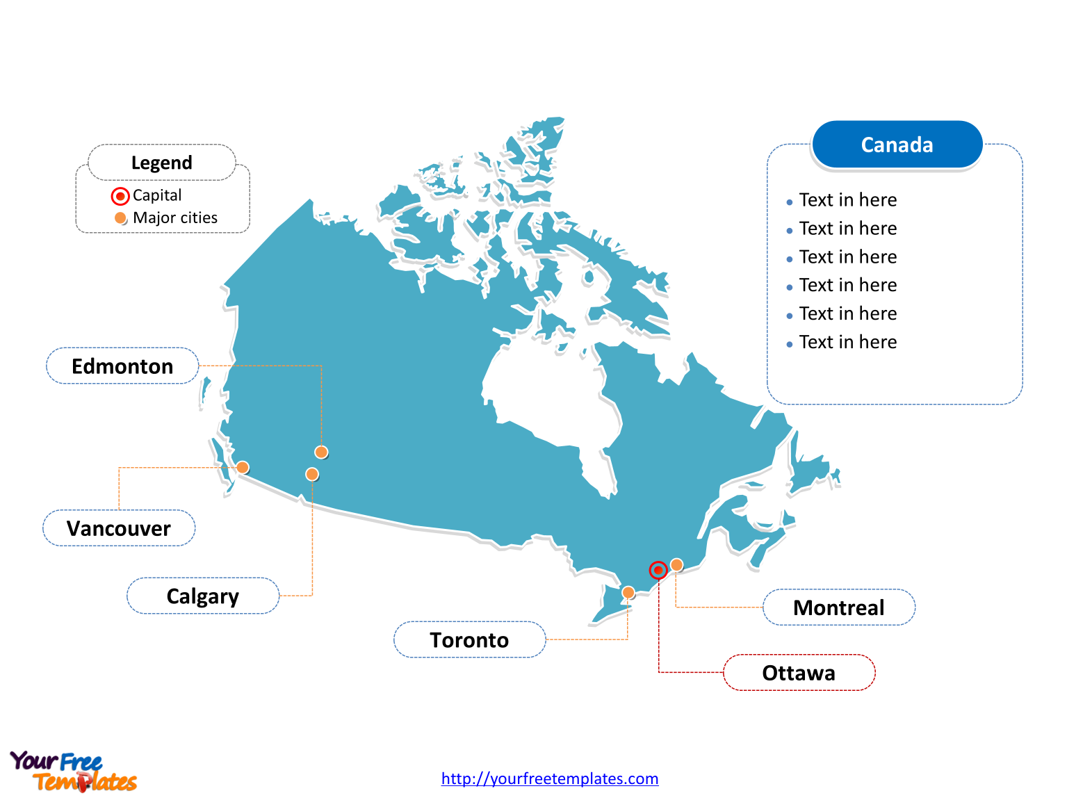 Map of Canada with outline and cities labeled on the Canada map blank templates