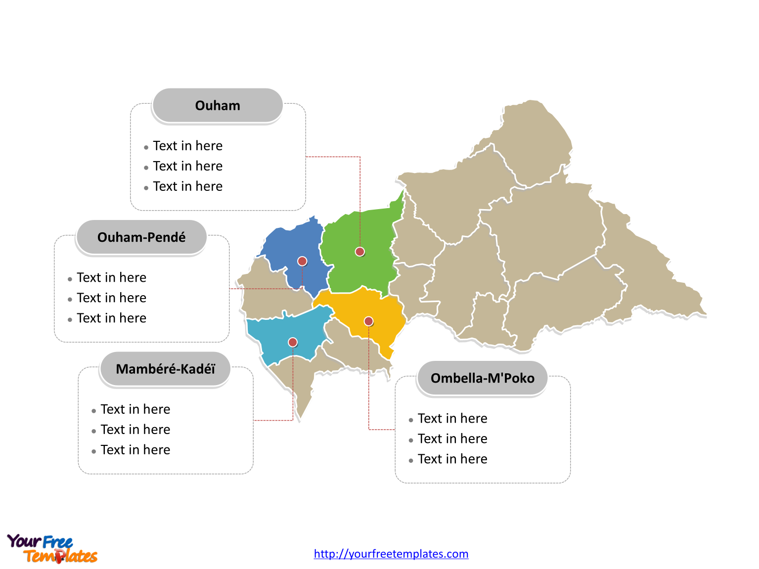 Central Africa Political map labeled with major prefectures
