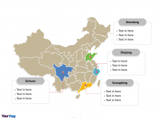 China Political map labeled with major provinces