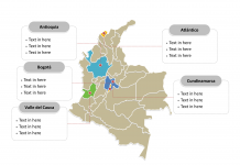 Colombia Political map label with major administration districts