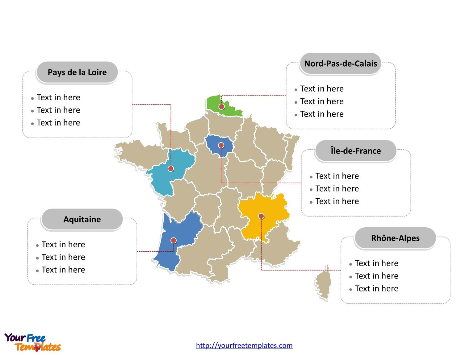 France Outline map label with cities