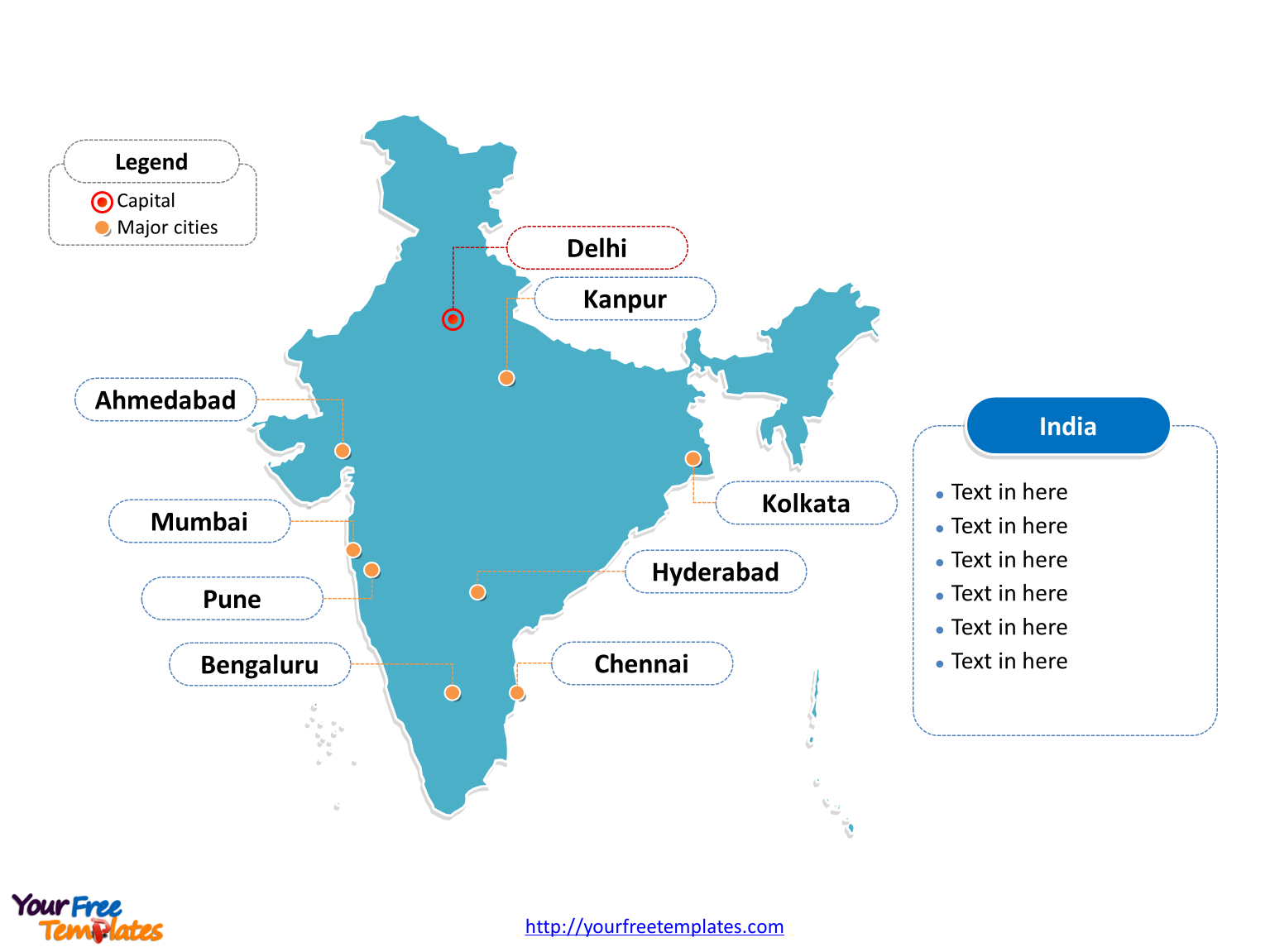 Map of India with outline and cities labeled on the India map blank templates