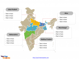 India Political map labeled with major states