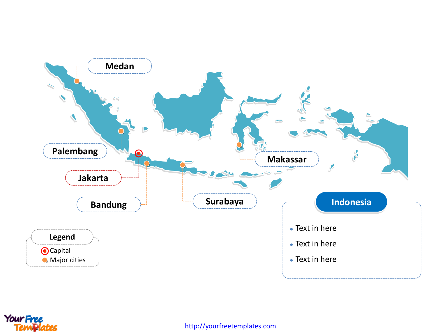 Map of Indonesia with outline and cities labeled on the Indonesia map blank templates