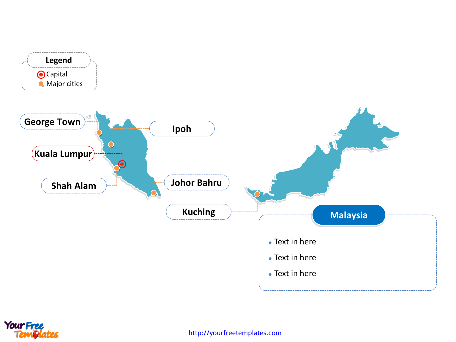 Malaysia Map with outline and cities labeled on the Map of Malaysia Editable templates