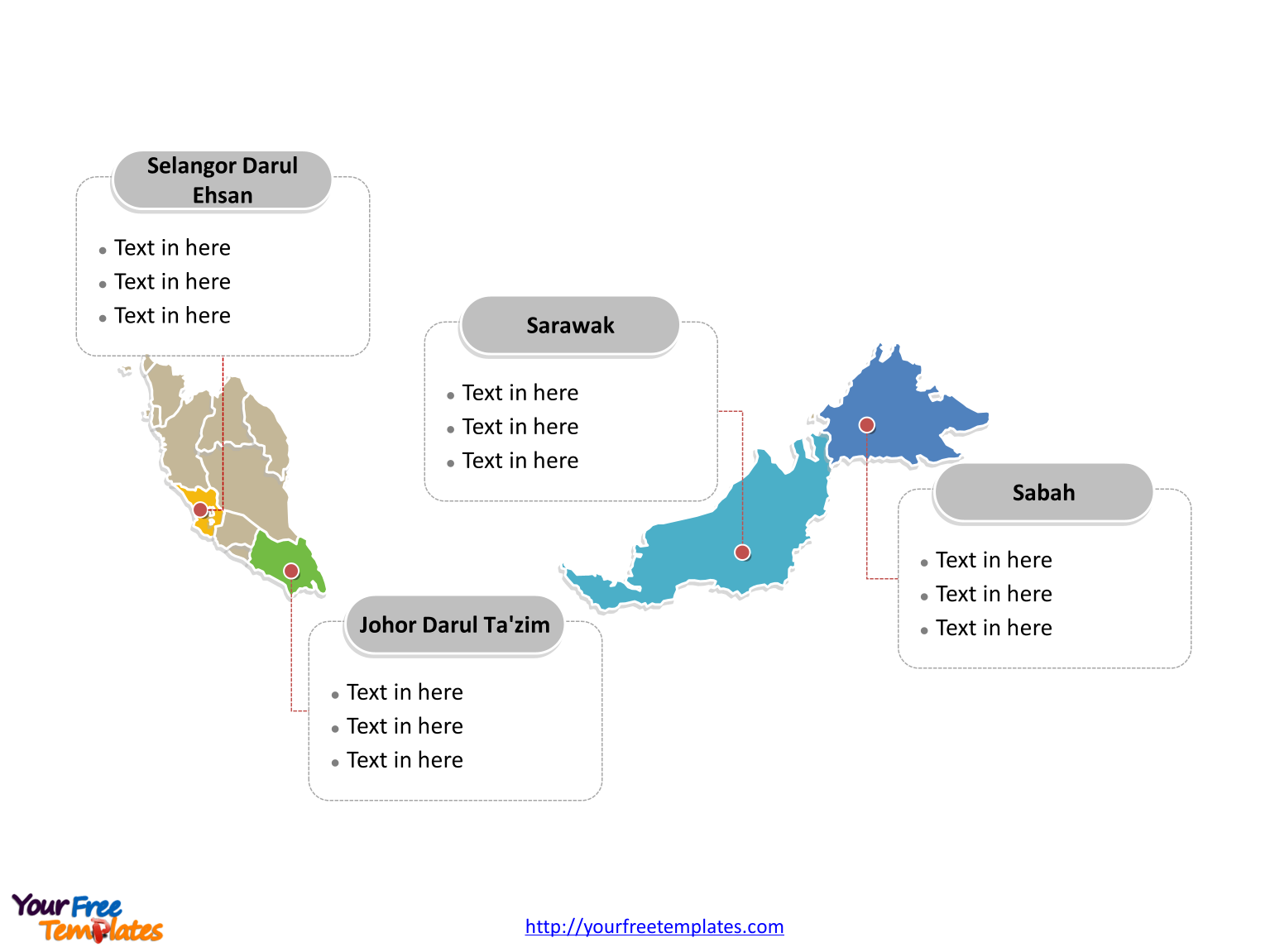Malaysia Editable Map with political division and major States labeled on the Malaysia map blank templates