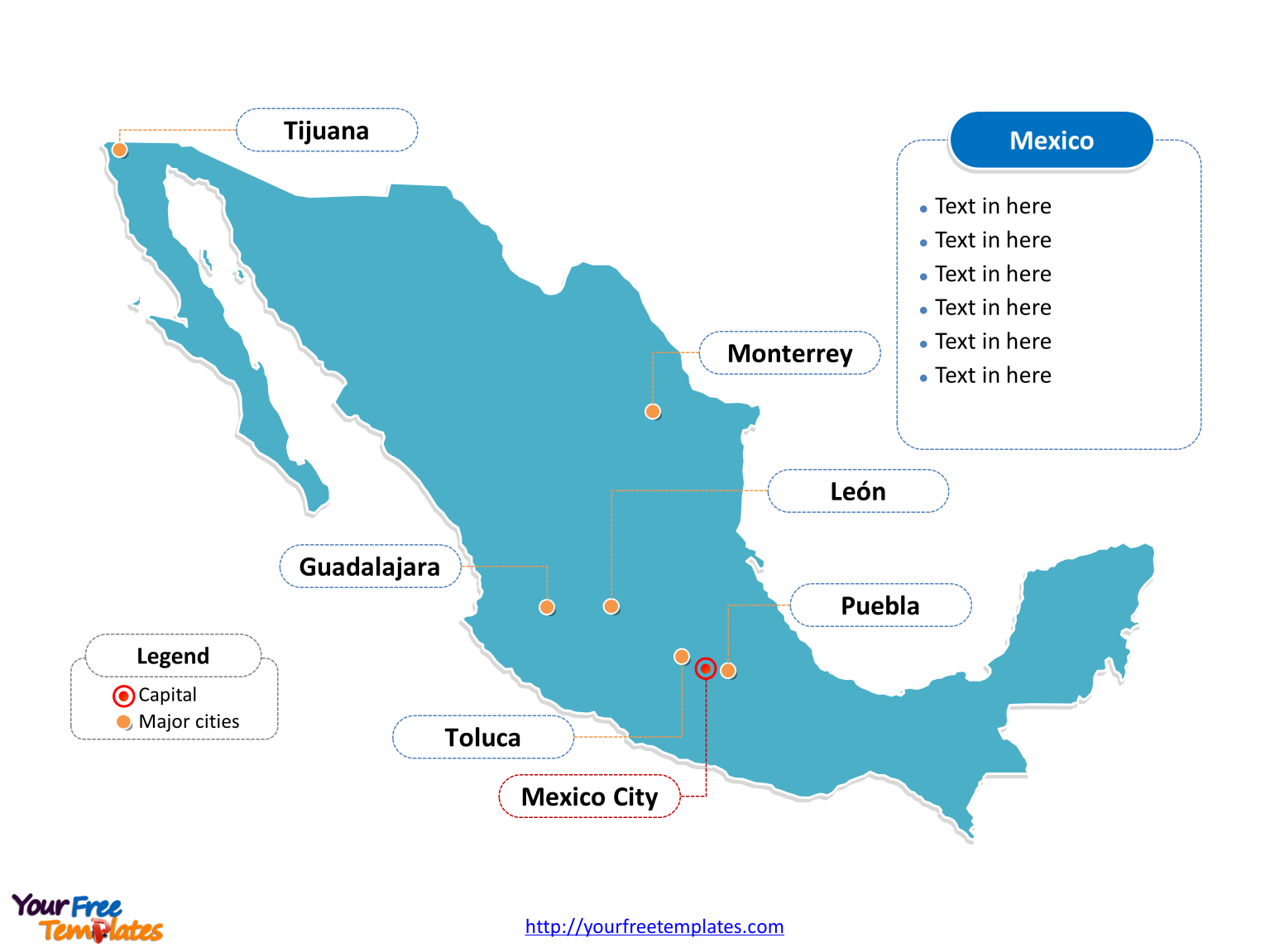 Mexico PowerPoint map label with cities