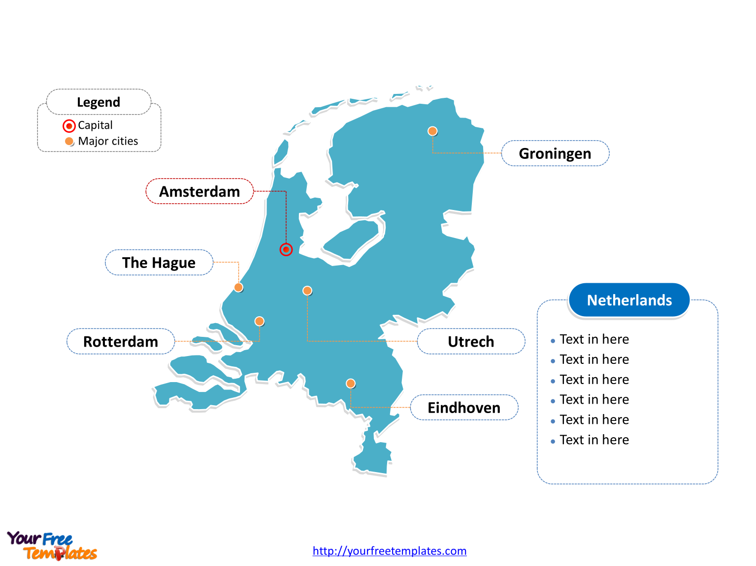 Netherlands Outline map label with cities