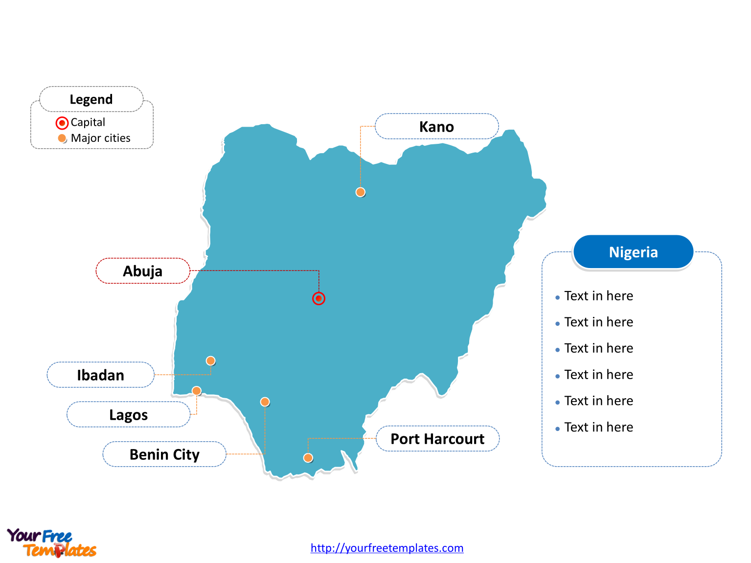 Nigeria Editable map labeled with cities