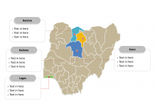 Nigeria Political map labeled with major states