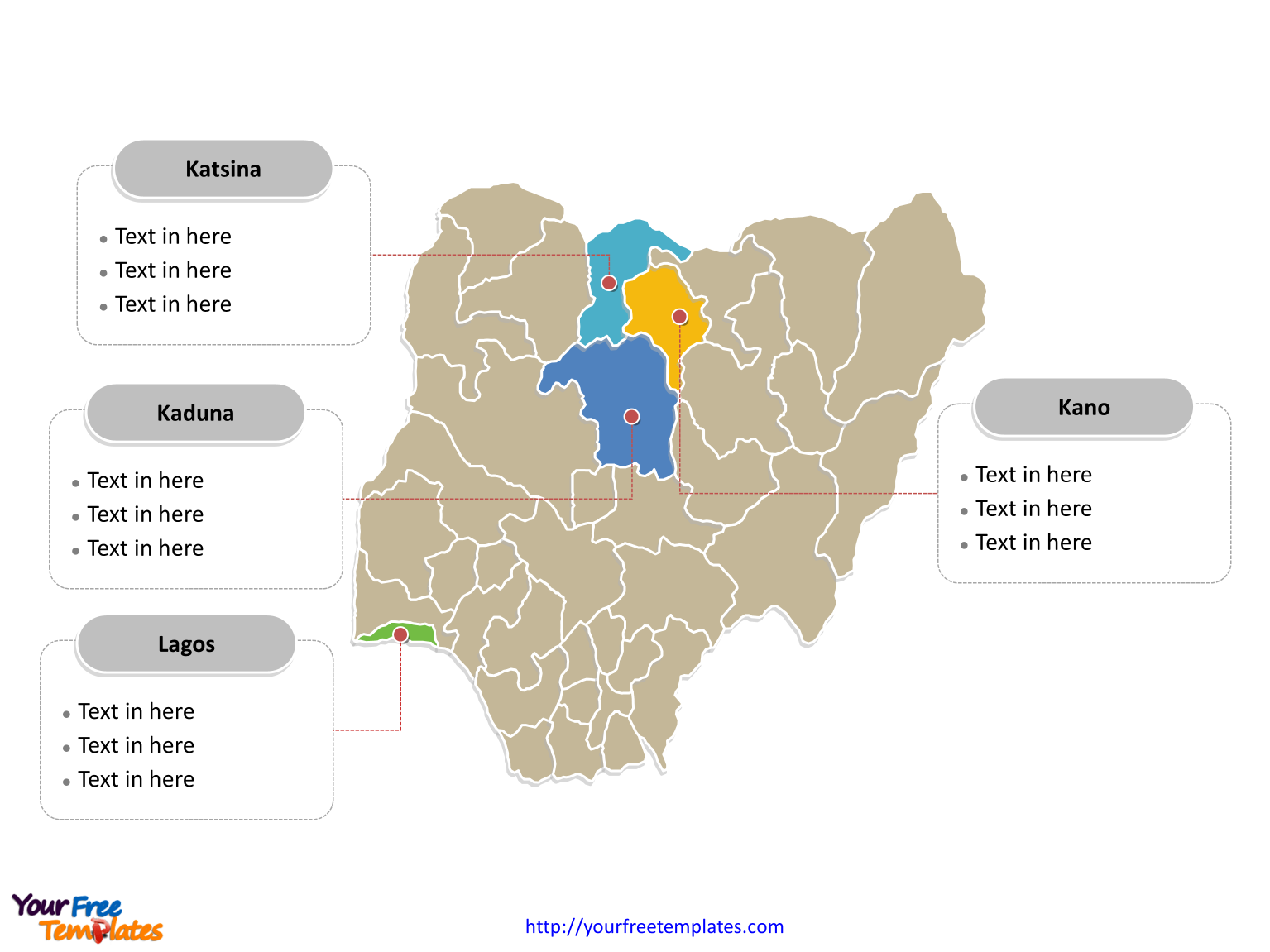 Nigeria Editable map labeled with major states