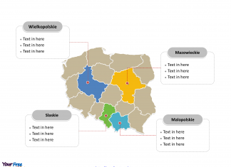 Poland Political map labeled with major administration districts