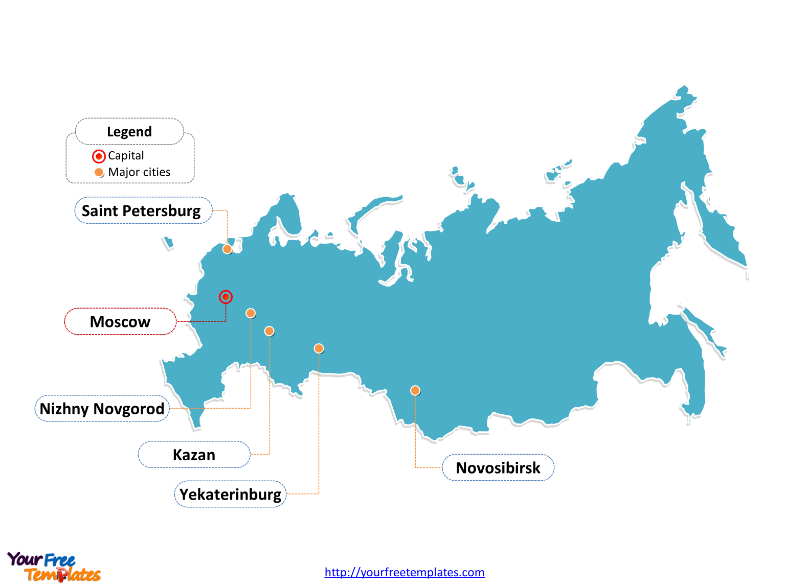 Russia Outline map labeled with cities
