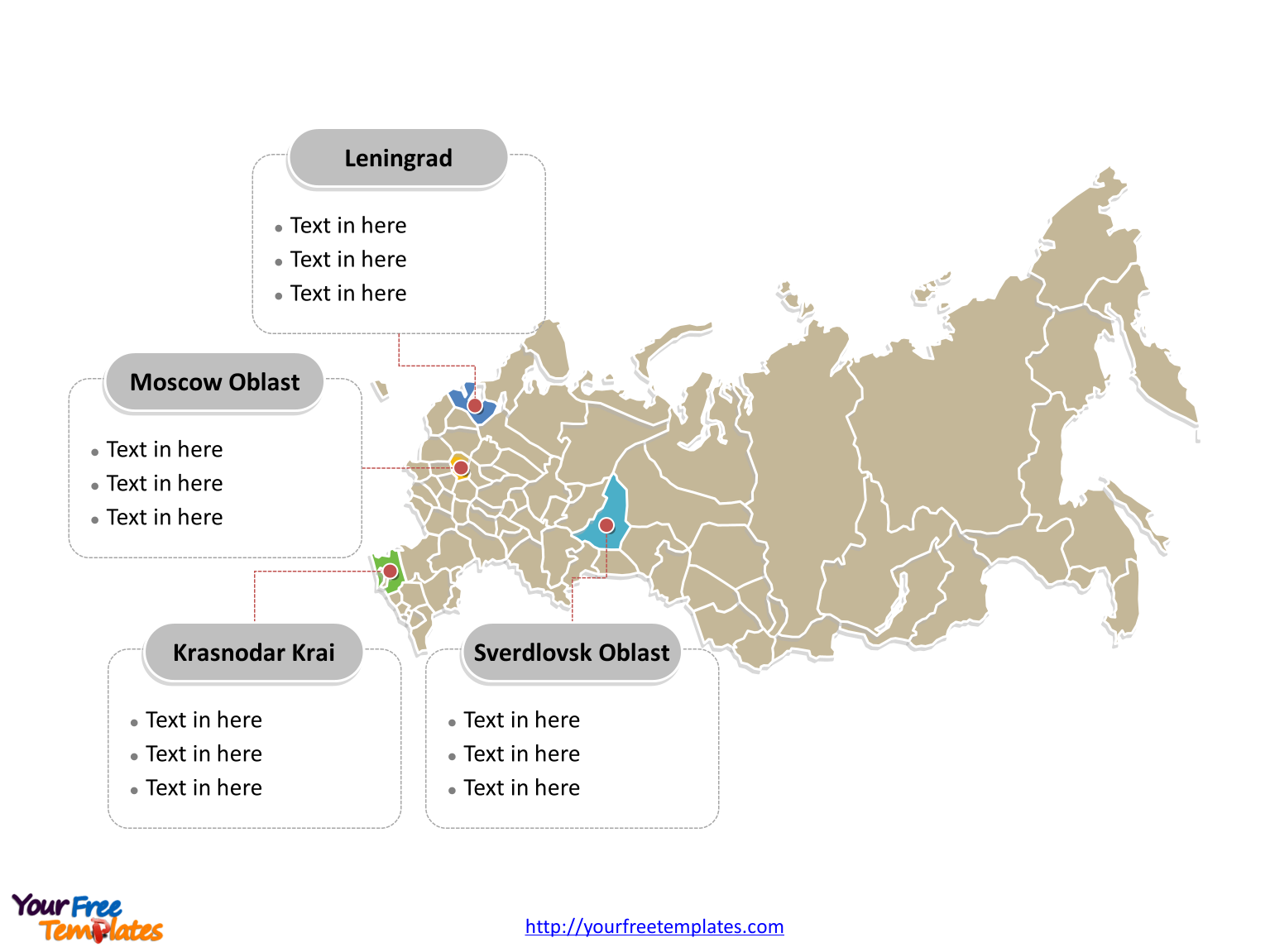 Russia Political map labeled with major administration districts