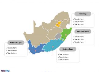 South Africa Political map labeled with major provinces