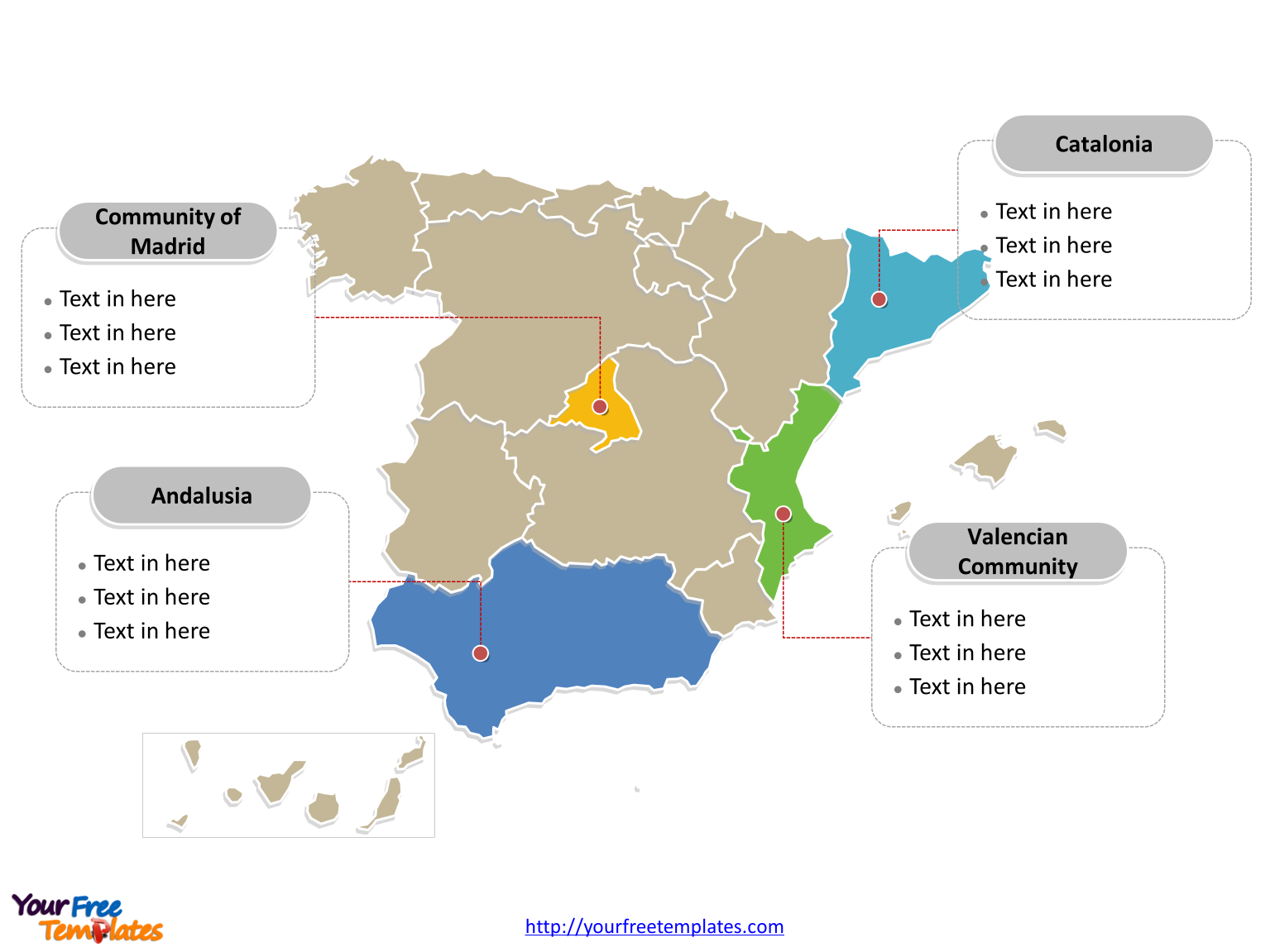 Spain PowerPoint Map with political division and major Communities labeled on the Spain map blank templates