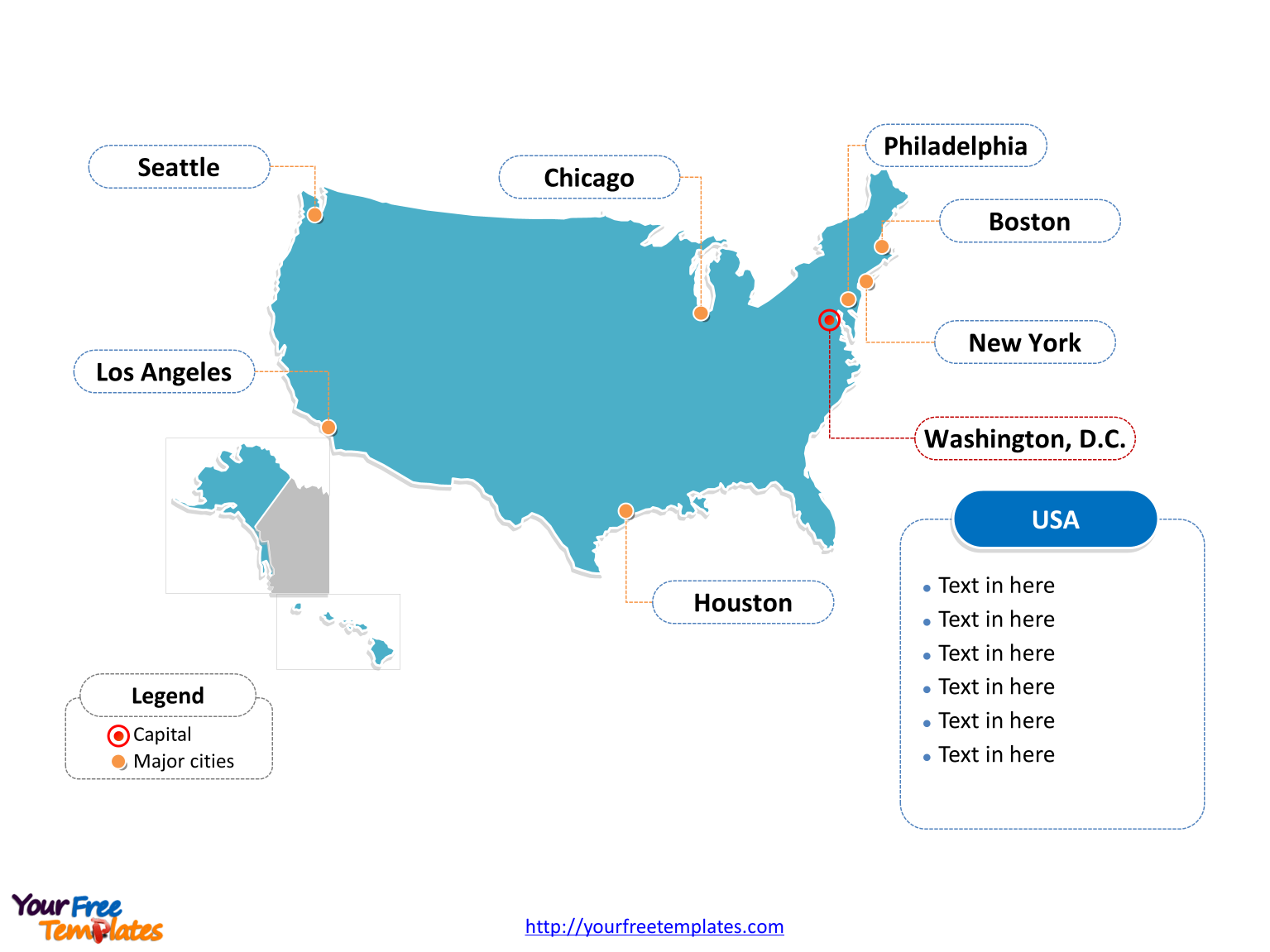 USA PowerPoint map of outline labeled with cities