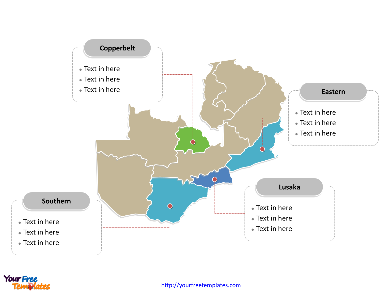 Zambia Political map labeled with major provinces