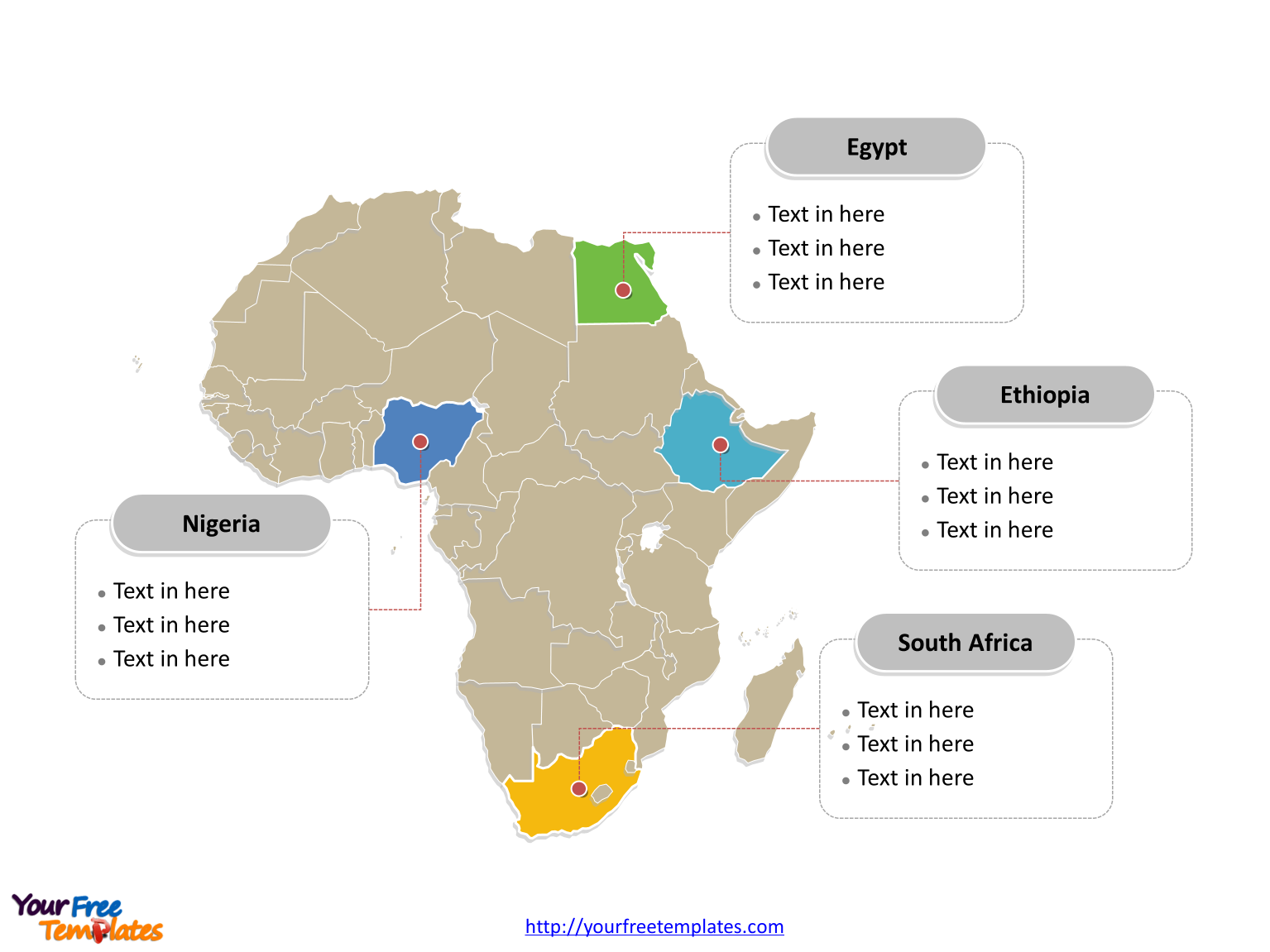 Map of Africa with political division and major Countries labeled on the Africa map free templates, or African continent map