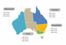 Australia Political map labeled with major states