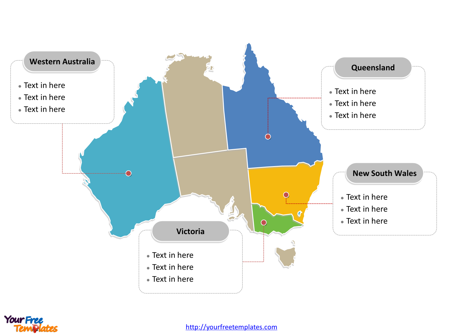 Australia Editable map labeled with major states