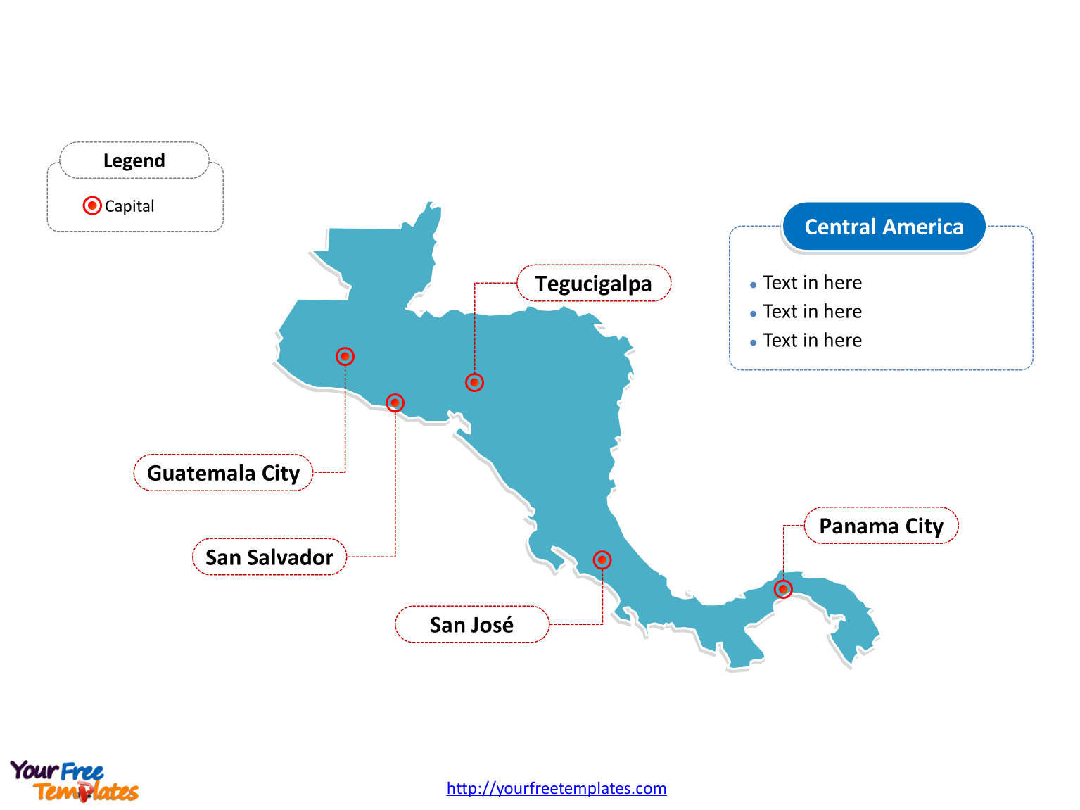 Map of Central America with outline and cities labeled on the Blank Central America map free templates