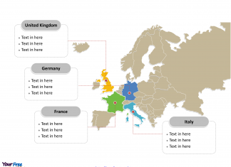 Europe Political map labeled with major countries