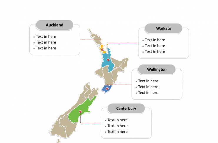 New Zealand Political map labeled with major regions