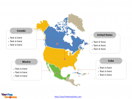 North America Political map labeled with major countries
