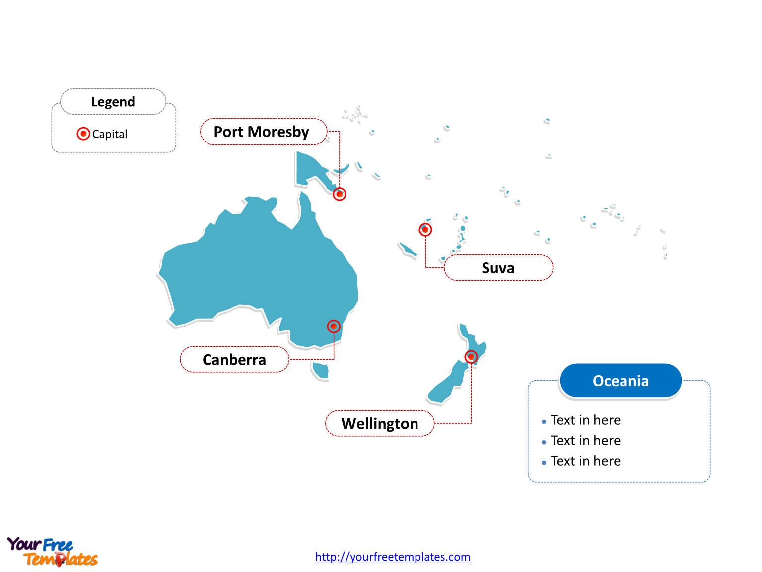 Oceania Outline map labeled with major capitals