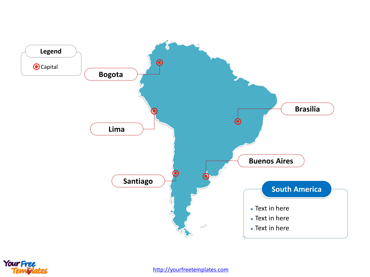 Map of South America with outline and cities labeled on the Blank South America map free templates