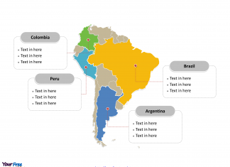 South America Political map labeled with major countries