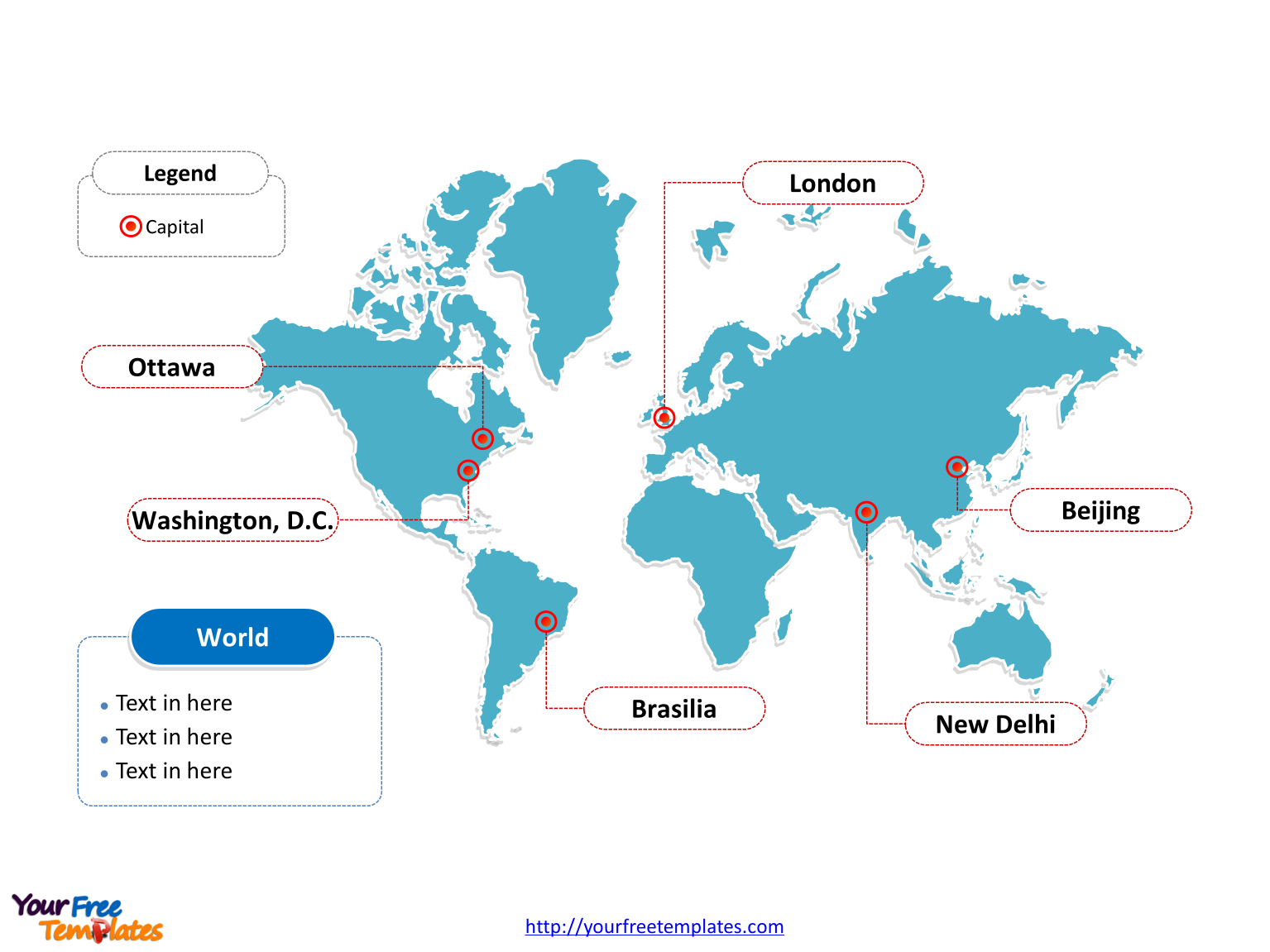 Map of World with outline and cities labeled on the World map free powerpoint templates