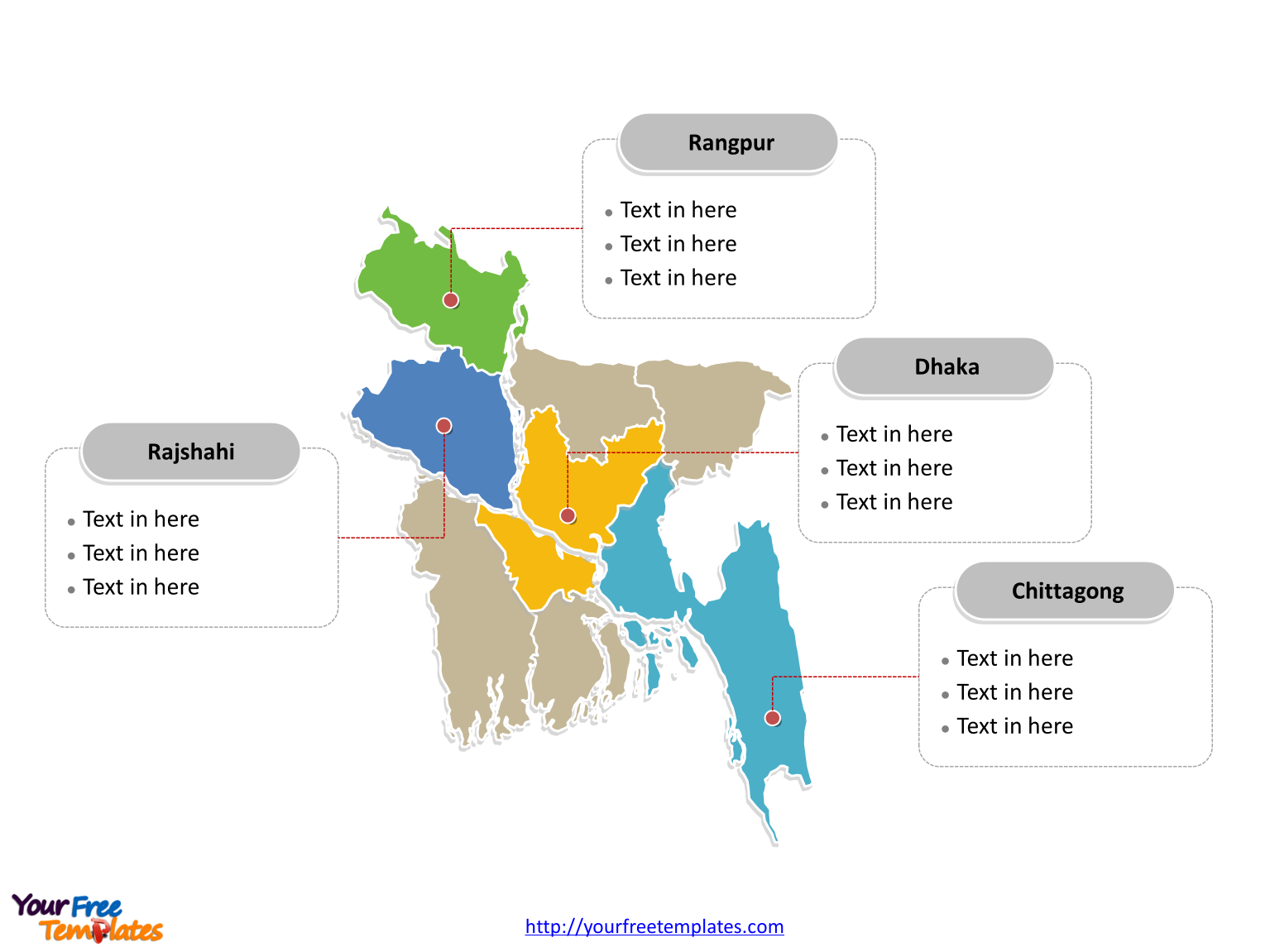 Bangladesh Political map labeled with major divisions