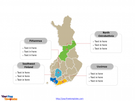 Finland Political map labeled with major counties